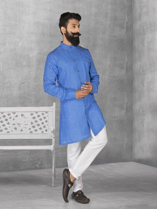 5bef555a4 Blue Color Linen Fabric Kurta Suit, mens kurta suits, mens kurta designs,  mens
