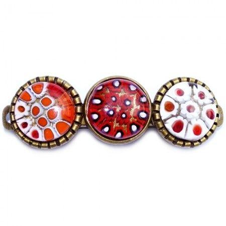 Exclusieve rode haarknip met handgemaakte glazen cabochons van rood millefiori glas.