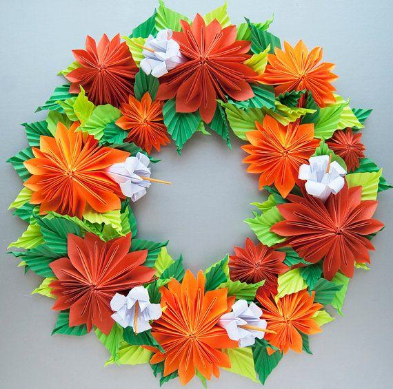 Orange Dahlia Origami Paper Wreath van Lusine op Etsy, $60.00
