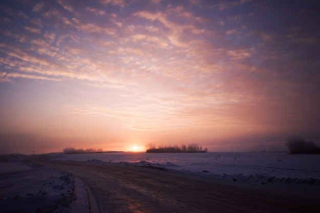 Saskatoon sunrises fill the sky with pinks and purples.