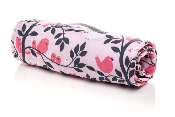 Girl Sleeping Mat, Nap Mat. Use for school, daycare, sleepovers. Birds, Chicks, Tweetie Pie. Full size Light Pink Minky Blanket with Built in Pillow. USA Made by Elonka Nichole Designs www.elonkanichole.com