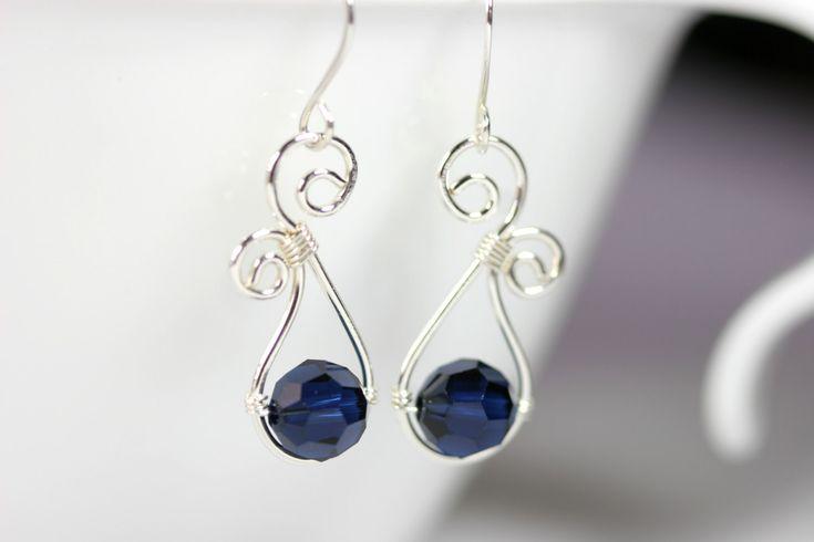 Dark Blue Swarovski Earrings Wire Wrapped Jewelry Handmade Sterling Silver Jewelry Handmade Swarovski Crystal Earrings Swarovski Crystal Jew by JessicaLuuJewelry on Etsy