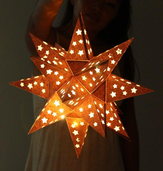 Faux Metal Star Lantern