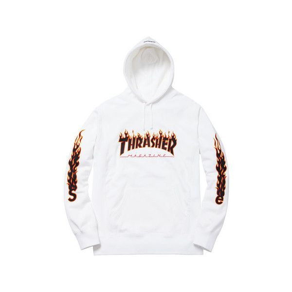 Supreme Supreme/Thrasher Hooded Sweatshirt (185 AUD) ❤ liked on Polyvore featuring tops, hoodies, hoodie top, white top, white hoodie, white hooded sweatshirt and hooded pullover