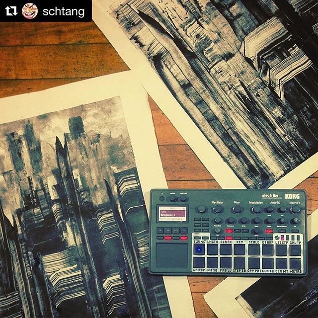 #Repost @schtang ・・・ Mise-en-scène of Monotypes & Musical Meanderings. __________________________________________ Shapes and Sounds Ep. 2 coming soon with @mabe.thosebaddays  __________________________________________ #monotype #printmaking #print #paper #blackworkers #korg #electribe #synth #synthesizer #instamusic #instamusica #synthporn #musicproducer #music #musically #art #artwork #collaboration #gentrification #gearporn #producer #studio #live #liveart #jammin #jamming #session #dark