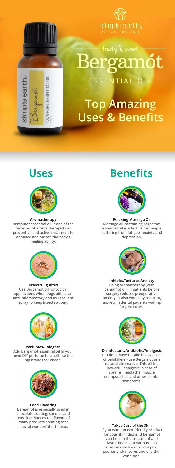 Bergamot Essential Oil (100% Pure & Eco-Friendly) Uses and Benefits | Simply Earth