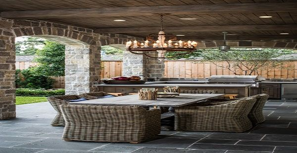 Castle Outdoor Chandelier and Rattan Chairs