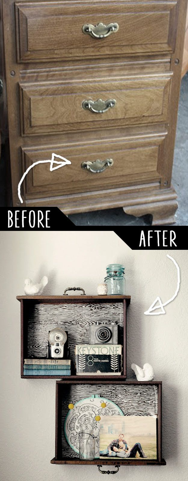 DIY Furniture Hacks | DIY Drawer Shelves | Cool Ideas for Creative Do It Yourself Furniture | Cheap Home Decor Ideas for Bedroom, Bathroom, Living Room, Kitchen - diyjoy.com/...