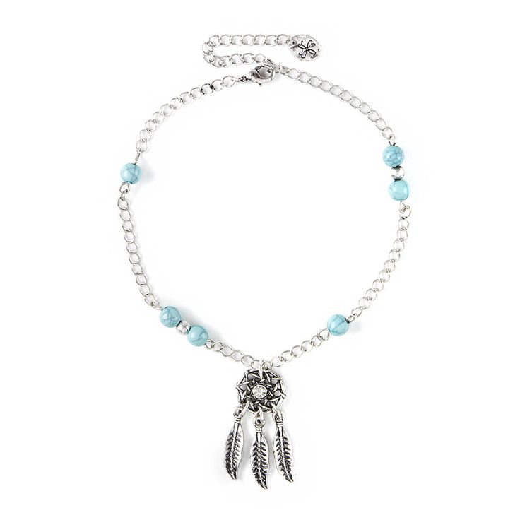 Antique Silver with Turquoise Beads Dream Catcher Anklet