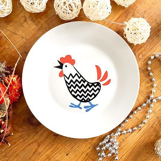 Тарелка фарфоровая Cockerel