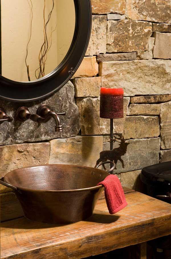 Montana mountain timber home powder room