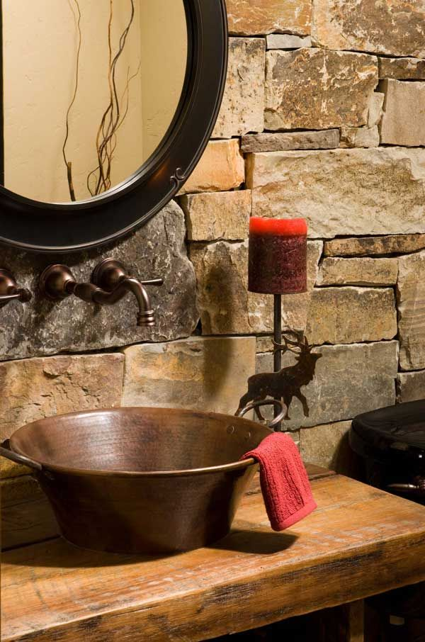 Montana mountain timber home powder room features a copper sink and a reclaimed-wood counter made by the builder. - #WesternHome