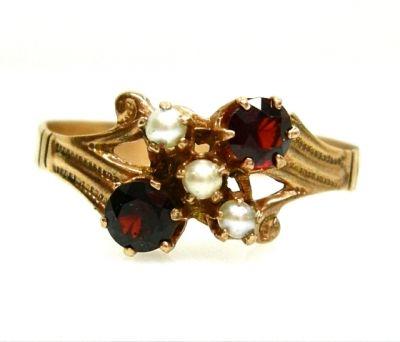 Garnet and Seed Pearl Ring