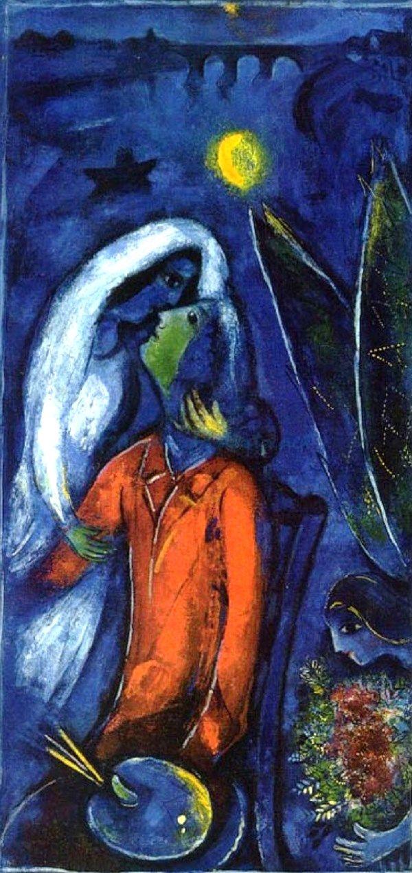 Chagall, Lovers near Bridge, 1948