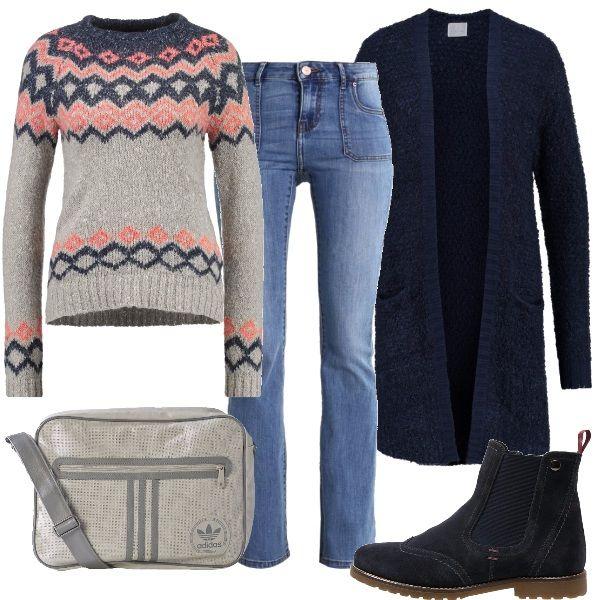 Per un'uscita di corsa, per fare la spesa, o anche per una passeggiata nel massimo comfort, ecco un outfit semplice da indossare e pratico, tutto sui toni del blu e del grigio, con un tocco di rosa. Il maglioncino con sfondo grigio e motivi geometrici racchiude tutti i colori dell'outfit, sotto, ho abbinato dei jeans bootcut e stivaletti blu. Il cardigan è indispensabile per le temperature più fresche. La comoda borsa a tracolla, grigia, completa l'outfit.