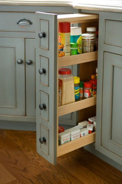 Slide out mini kitchen pantry. Great idea!  http://recipesjust4u.com/kitchen-features-that-make-your-life-easier/