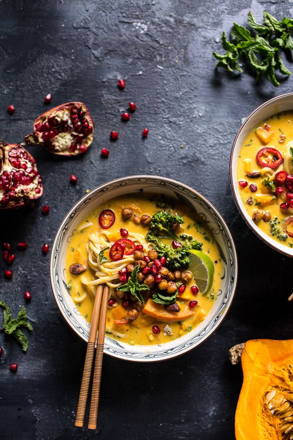 "Thai Pumpkin Laksa with Crunchy ""Fried"" Chickpeas | Half Baked Harvest"