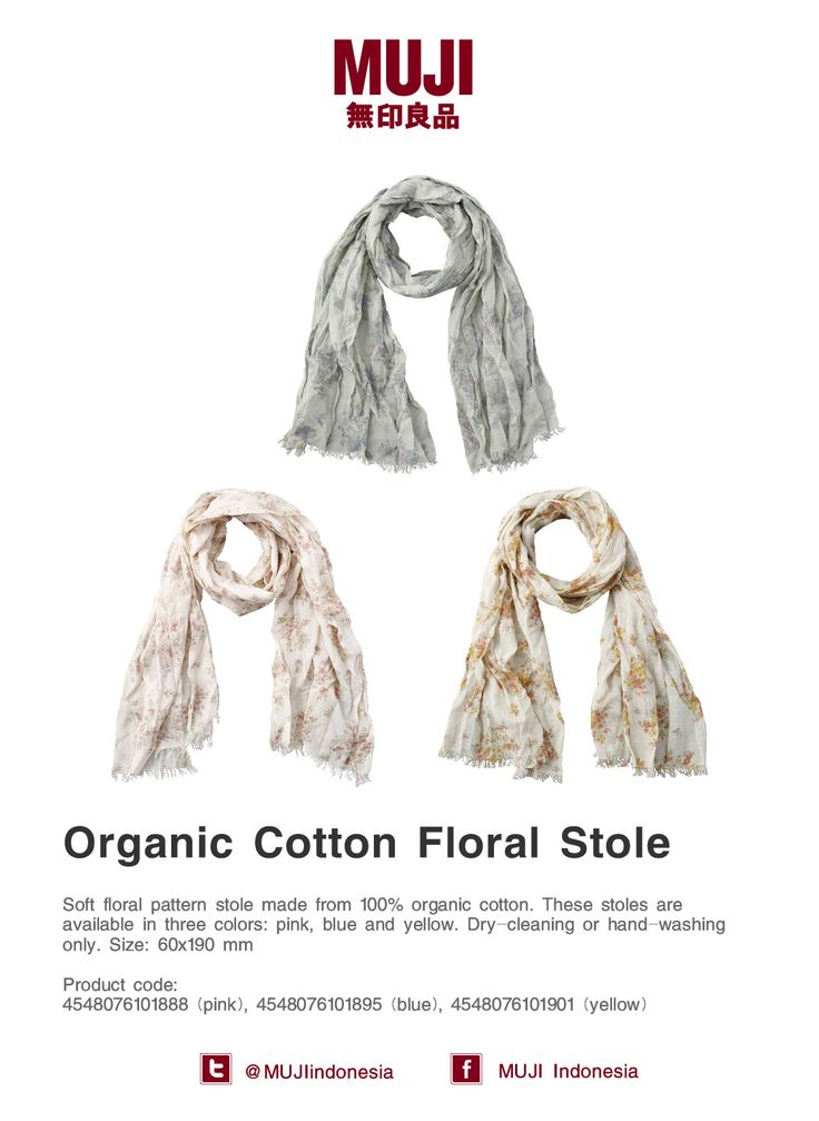 [Organic Cotton Floral Stole] 100% from cotton. Feels soft to the skin. Available colors in pink, blue and yellow.