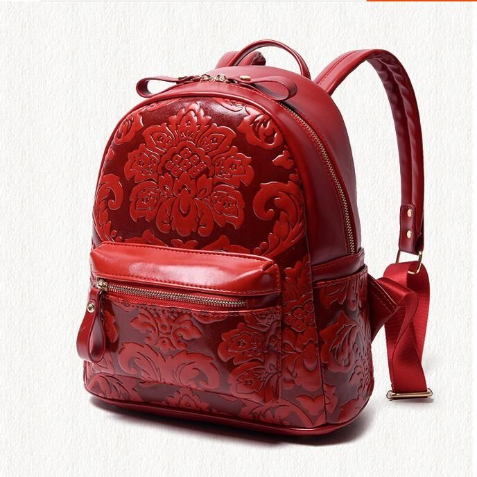 44.79$  Know more - http://ai1pt.worlditems.win/all/product.php?id=32766220914 - Free shipping New fashion leisure female Chinese wind red flowers shoulders back high-end college trend backpack
