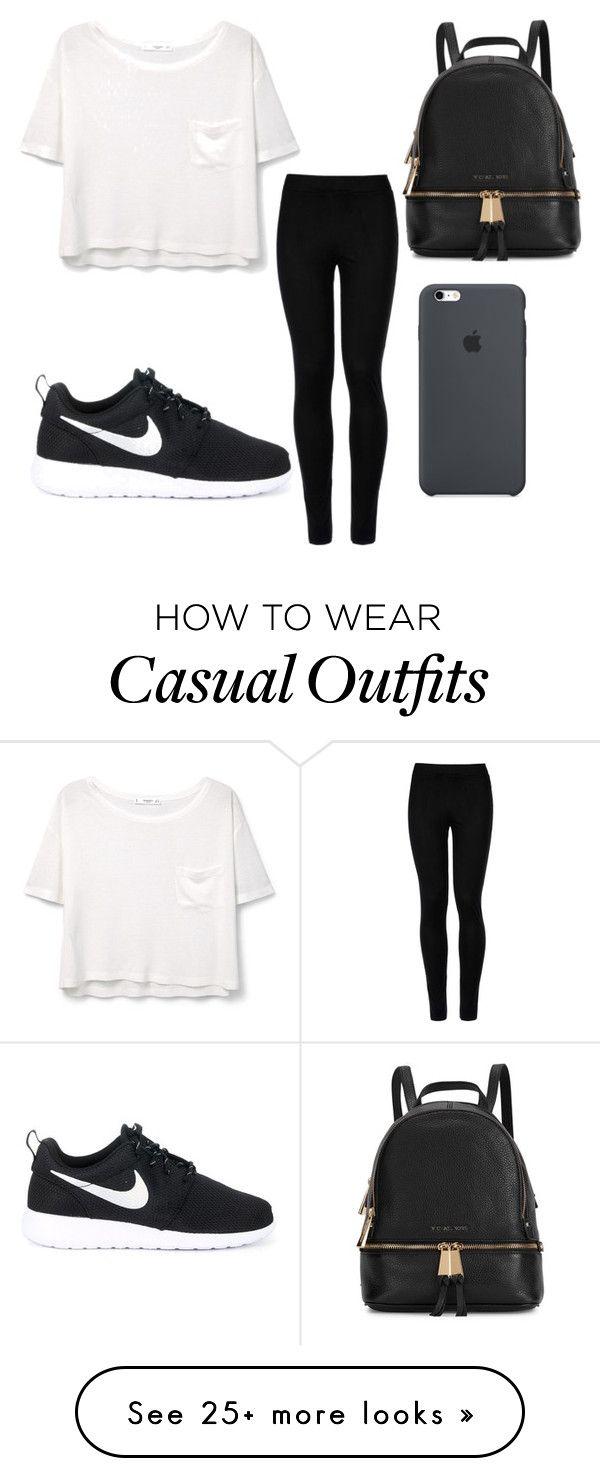 Casual Look by mxureenroxane on Polyvore featuring Wolford, MANGO, NIKE and Michael Kors