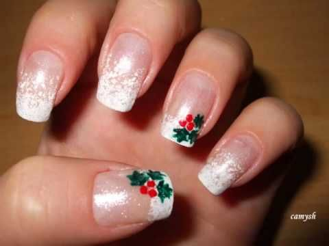 Christmas manicure - Mistletoe on my nails - Nail Art Tutorial