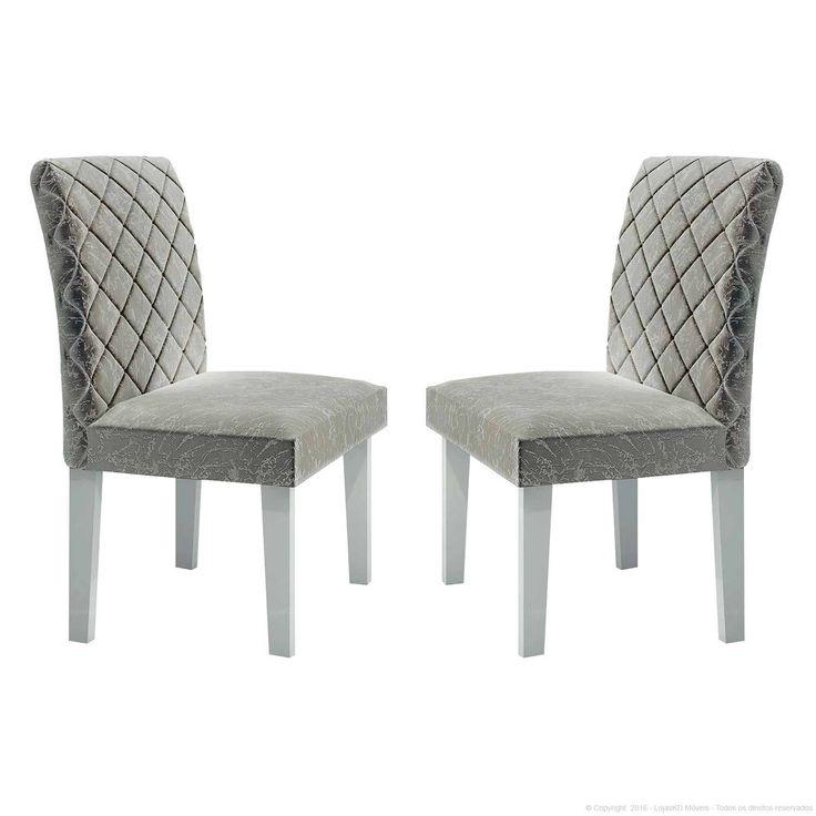 Cadeira Estofada 100% MDF Orion 2 Peças Branco/Marmorizado Cinza - LJ Móveis | Lojas KD