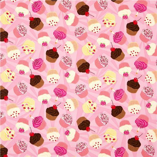 pale pink patterned designer fabric cupcakes candle cherry 2