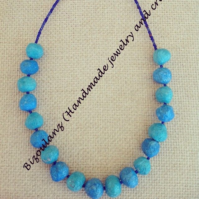 Papier-mâché beads necklace  #papiermache#beads#necklace #blue#greenfashion#ecofriendly#recycled#upcycled#paperjewelry#bizoulanz#χειροποίητο#κόσμημα#κολιέ#χαρτοπολτός