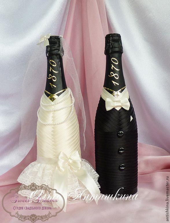 """Купить Оформление шампанского """"Парочка"""" (черный+айвори) - бежевый, черный, белый, шампанское, свадебное шампанское"""