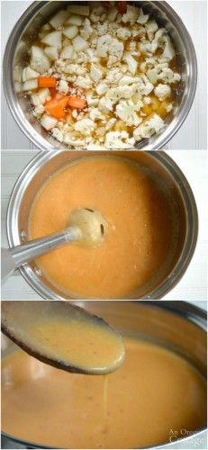Making cauliflower cheese soup with an immersion blender