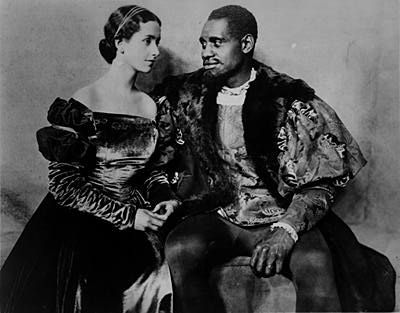 Photograph of Paul Robeson as Othello and Peggy Ashcroft as Desdemona from the 1930 London production of Shakespeare's Othello.