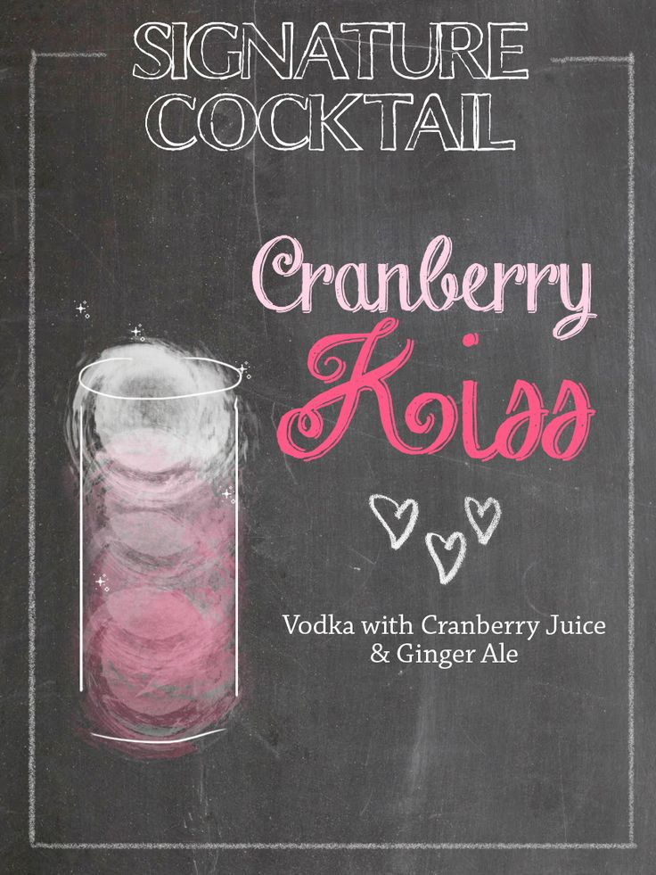 Signature Cocktails for the Wedding <3 Chalk Illustration <3 Cranberry Kiss More on our blog: http://www.belle-melange.com/signature-wedding-cocktails/
