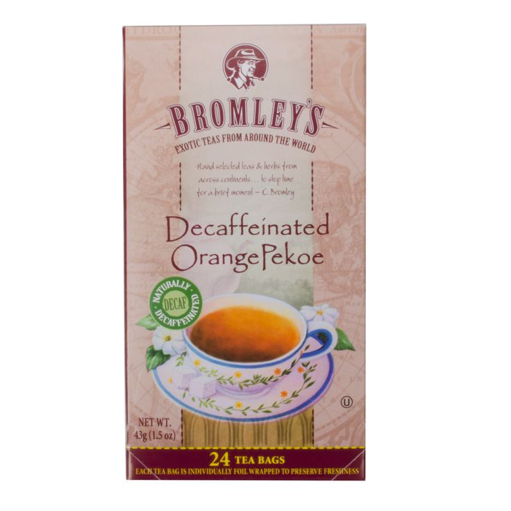 Bromley is the first tea company in America to offer a decaffeinated tea, so by serving Bromley, your patrons are sure to receive a perfected recipe of quality decaf tea. Even if your patrons do not want caffeine, they'll be able to enjoy fresh, great-tasting tea thanks to the full-bodied flavor of these Bromley Exotic orange pekoe decaffeinated tea bags. Decaffeinated using an all-natural, non-chemical process, this special blend of teas comes from exotic locations and has a smooth, orange…