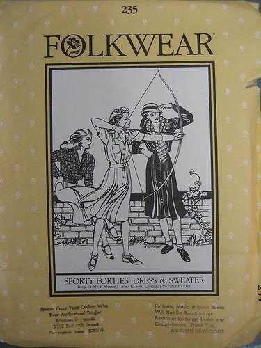 Sporty Forties' Dress Sweater Costume Folkwear Pattern 235   eBay