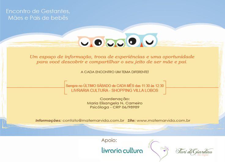 Encontro Gestantes, mães e pais de bebês Livraria Cultura SP - By Fiori di Giardino