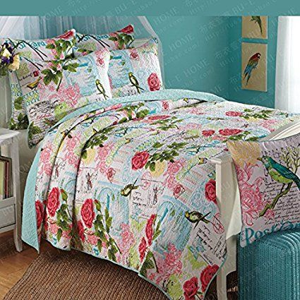 home 3piece retro red rose printed cotton patchwork bedspread quilt set queen