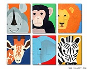 Giraffe Print nursery art. 8x10 safari artwork, baby  jungle art, child zoo decor animal for kids rooms and playrooms in blue and orange