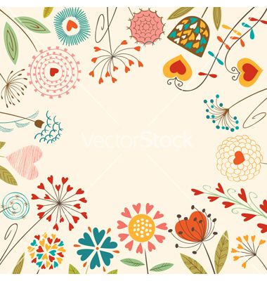 Floral hearts card vector 1167509 - by fireflamenco on VectorStock®