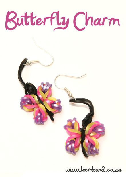 Butterfly charm earrings Tutorial, instructions and videos on hundreds of loom band designs. Shop online for all your looming supplies, delivery anywhere in SA.