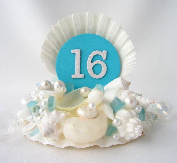 Beach Decor Shell Cake Topper - Nautical Decor Seashell Cake Top for Birthday or Sweet 16