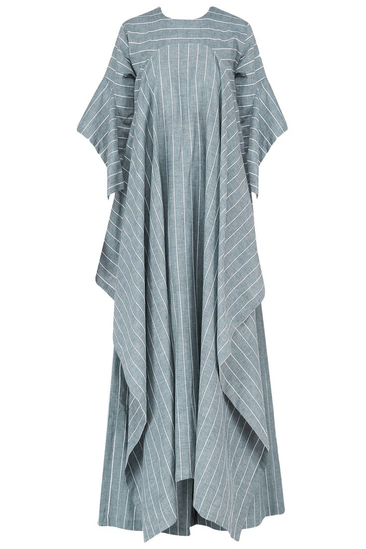 Blue striped cascade kaftan with palazzo pants set available only at Pernia's Pop Up Shop.