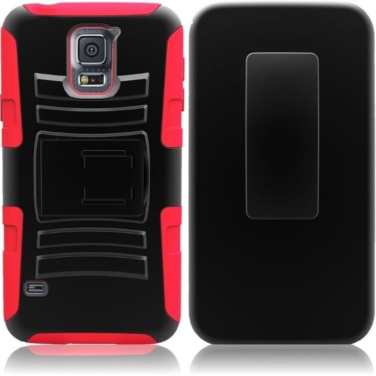 Insten Hybrid Cover Phone Case with Holster Stand for Samsung Galaxy S5 SV #1842147