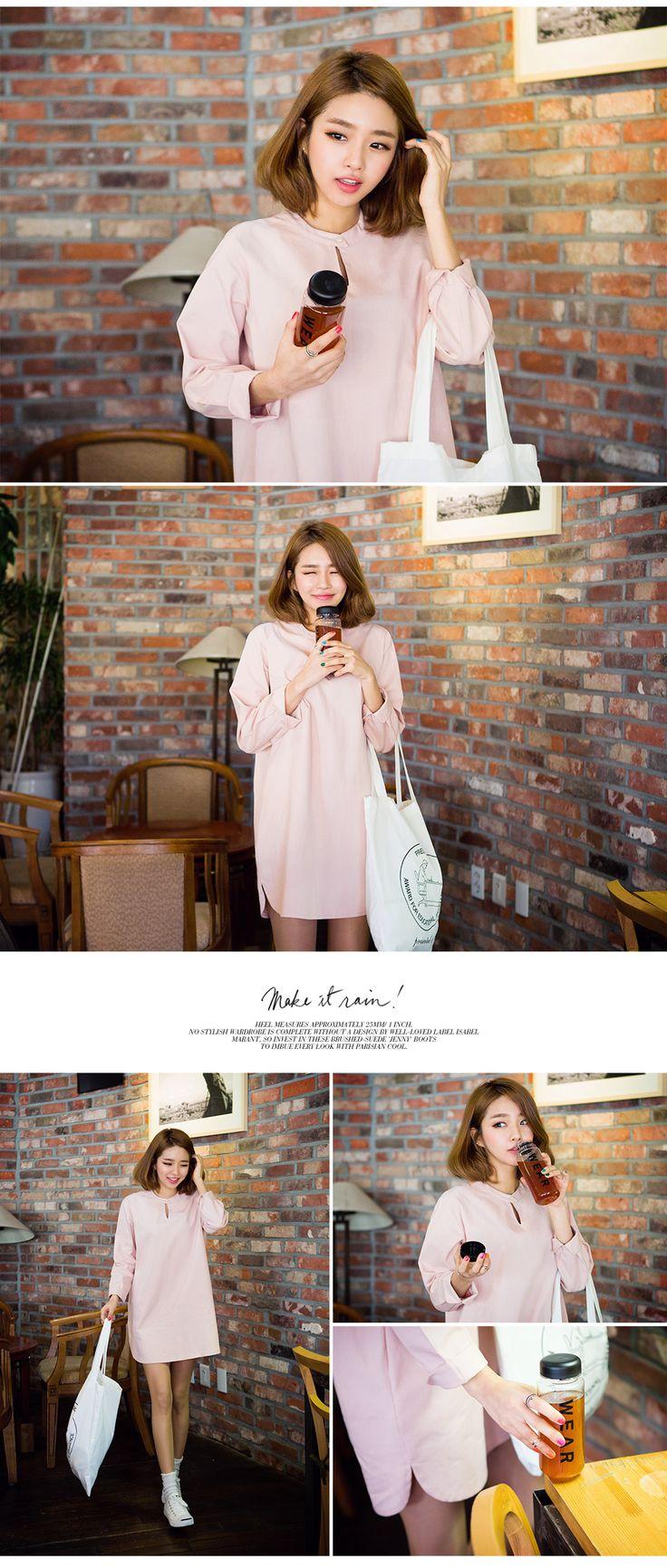 CHUUDress Just You Keyhole Neck Shift Dress | somethin' sweet, Korean fashion to your taste.
