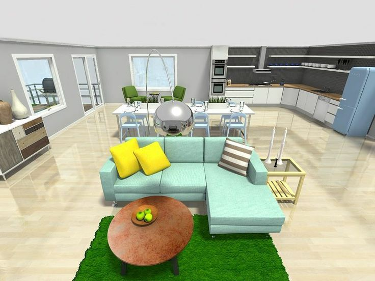 3D Floor Plan For A Great Room With Kitchen Living Areas Leading To The Outdoors Designed In RoomSketcher Pro Decor From IKEA Crate And Barrel West