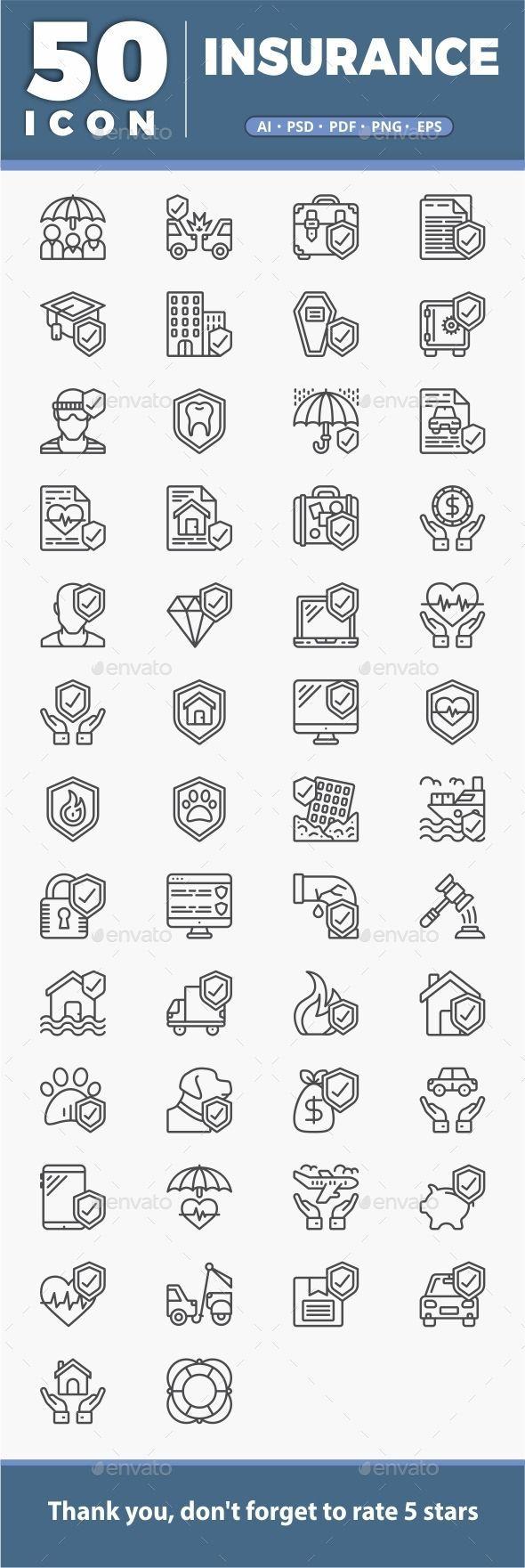 50 Insurance Symbol Fully Customizable Set Of Icons Icon Design Art Digitala Low Car Insurance Dental Insurance Umbrella Insurance Icon