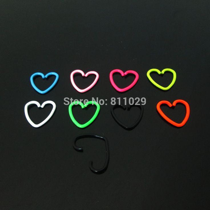 Бесплатная доставка оптовая продажа 20 г 100 шт. ор экрана-helix хряща перегородки кольцо нержавеющей стали неоновые цвета форме сердца пирсинг носа кольцо