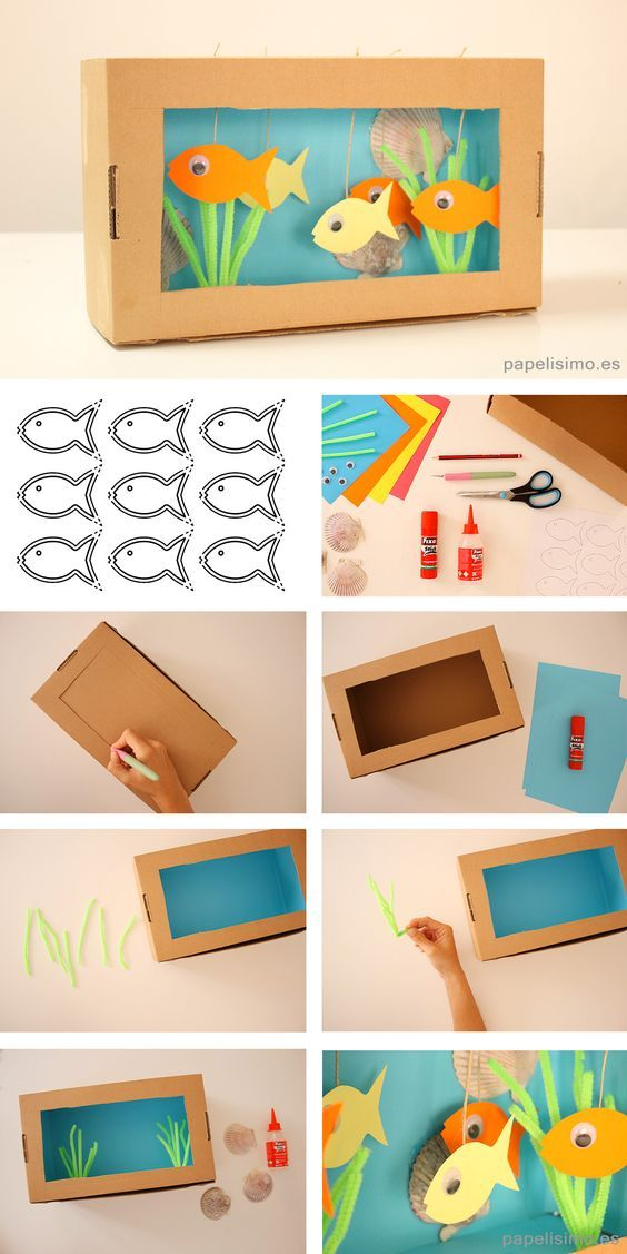 Aquarium with cardboard box step by step DIY cardboard aquarium - aquarium with . Aquarium with cardboard box step by step DIY cardboard aquarium - aquarium with . Kids Crafts, Summer Crafts, Toddler Crafts, Preschool Crafts, Projects For Kids, Diy For Kids, Easy Crafts, Summer Diy, Easy Diy