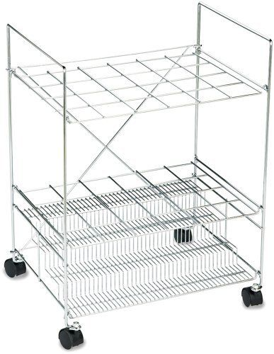 Safco 3089 Mobile Chrome Wire Roll File, for 24 3-1/2x3-1