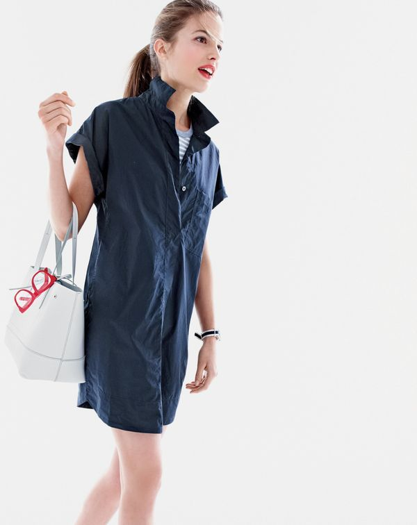 J.Crew women's short-sleeve cotton shirtdress and new uptown tote.