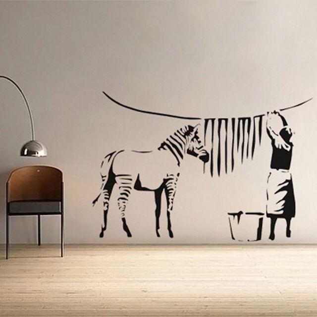 Banksy Cool Cartoon animaux Zebra cheval personnes Wall Sticker salon chambre vinyle Art bricolage fond d'écran Mural Home Decor 60 x 90 cm